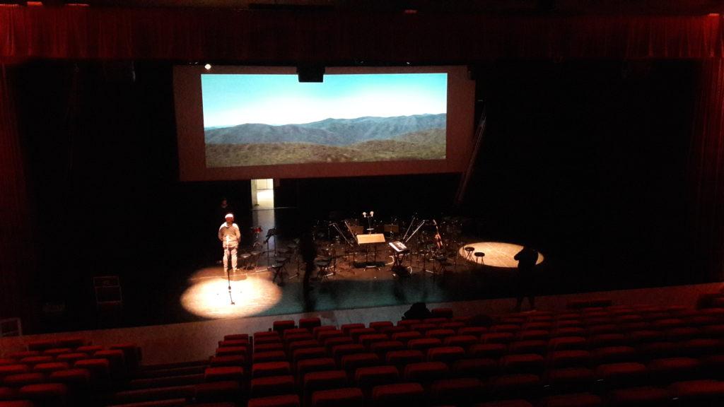 Installation double vidéoprojection film écran géant arkaos
