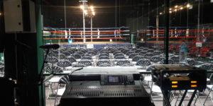 sonorisation gala de boxe micro HF console numérique aviron bayonnais